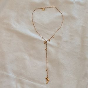 Kendra Scott rose gold lariat necklace